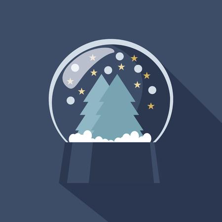 wereldbol: Sferische Snow Globe pictogram beeltenis van Kerstmis en Nieuwjaar met fonkelende sneeuwvlokken boven bos bomen opgehangen op een koude blauwe achtergrond winter
