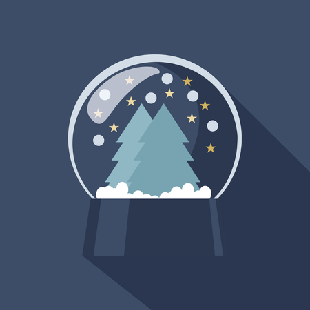 christmas snow globe: Spherical Snow Globe icon depicting Christmas and New Year with sparkling snowflakes suspended above forest trees on a cold blue winter background