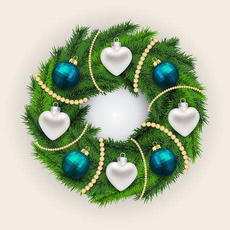 Decorated Christmas pine wreath with alternating silver hearts and blue baubles interspersed with white beads on a grey background, vector illustration