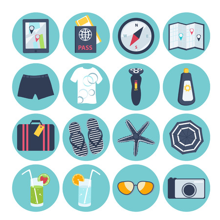 Set of sixteen different round summer vacation icons with a suitcase, passport, map, camera, sunglasses, sunscreen, swimsuit, slip slops, starfish, beach umbrella, cocktail, ice lolly and ice cream Stock Vector - 48104801