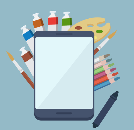 tabletpc: Digital painting app concept with colorful tubes of paint, paintbrushes and a wooden artists palette surrounding a tablet-pc with a blank white screen and copyspace, vector illustration