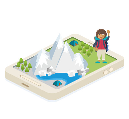 A mobile app with a map of traveling and camping