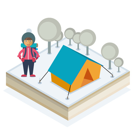 A girl with a backpack and a tent in a winter forest