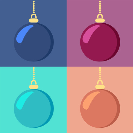 Set of shiny hanging Christmas baubles in four different color variants, vector illustration