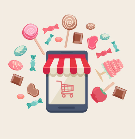 Sweet shop online store with a storefront icon with canopy, cart and buy button surrounded by assorted candy, chocolate, lollipops, toffee apple and a cake, vector illustration