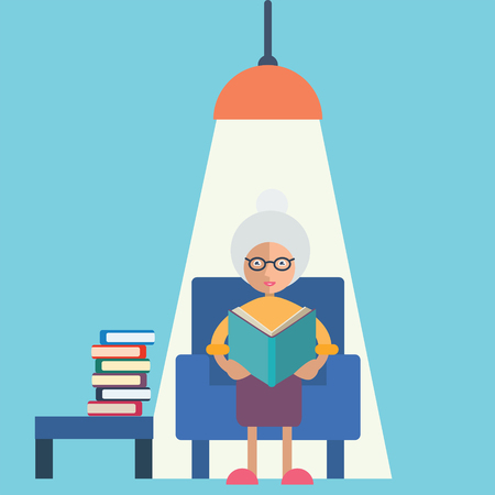 An old woman sitting under a chandelier and reading a book Illustration
