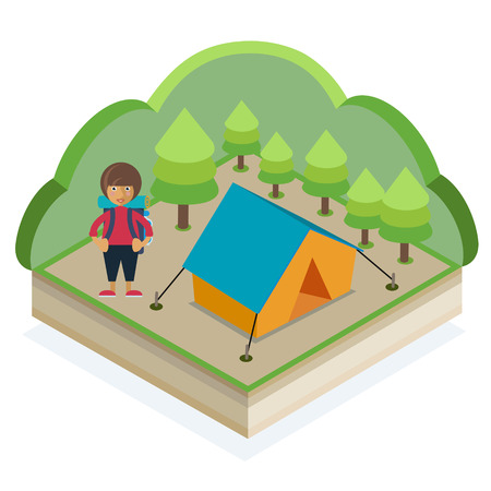 A girl with a backpack and a tent in a summer forest Illustration