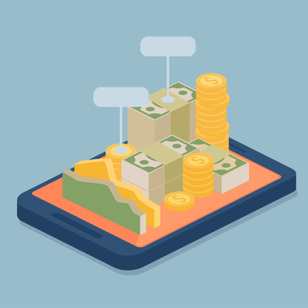 Mobile e-bank with currency in the form of gold coins and packaged stacks of banknotes with blank signs piled on the screen of a mobile device, vector illustration
