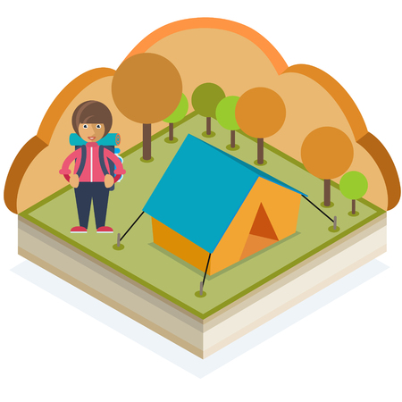 A girl with a backpack and a tent in an autumn forest