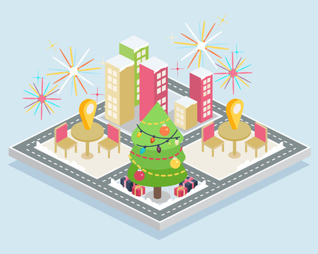 A city with several cafes and a huge Christmas tree Illustration