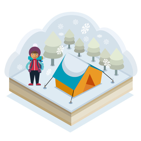 A girl with a backpack and a tent in a winter forest Stock Vector - 48104899