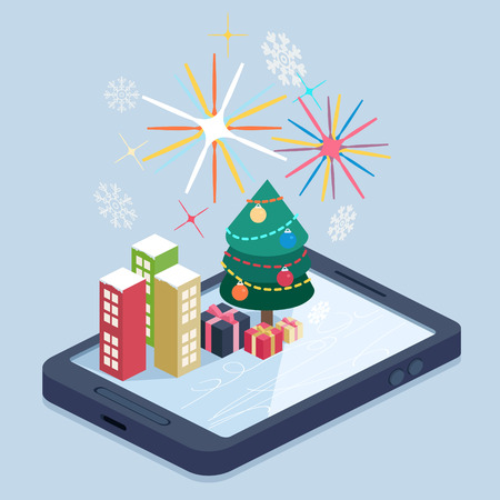 A mobile with a Christmas map