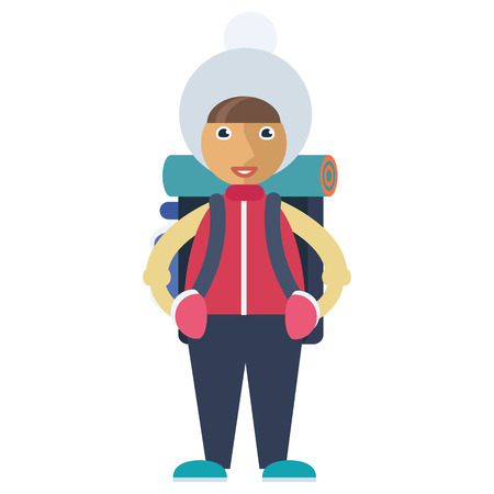 A girl in a winter hat carrying a backpack Illustration