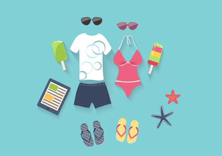 Summer seaside holiday vector illustration with a conceptual arrangement of a female swimsuit, male clothing, sunglasses, slip slops, ice cream and starfish on a blue background depicting the sea Illustration