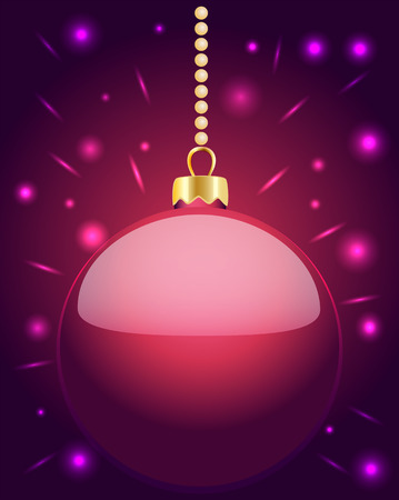 Glowing pink Christmas bauble hanging on golden beads on a purple background with glowing party lights, vector illustration Illustration