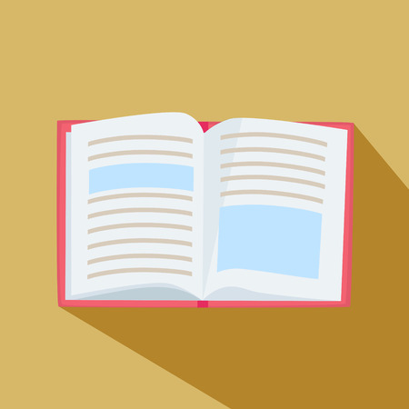 Open hardcover book with text lying on a beige background with long shadow, overhead view, vector cartoon illustration