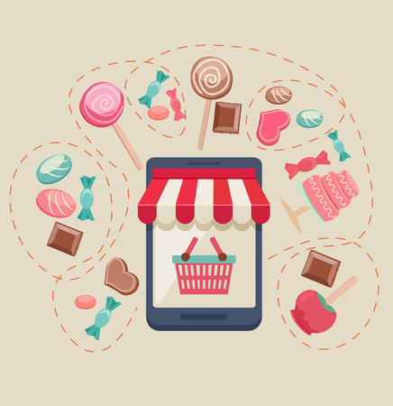 buy button: Sweet shop online store with a storefront icon with canopy, bags and buy button surrounded by assorted candy, chocolate, lollipops, toffee apple and a cake, vector illustration