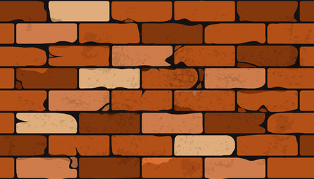 Architectural seamless background pattern of a face brick wall with cracked bricks in a range of shades orange through red, vector illustration
