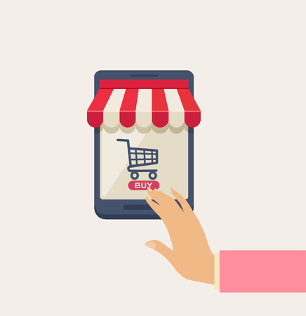 Cartooned Online Shopping Concept with Human Hand Touching the Screen of a Mobile Phone, Emphasizing of Buying Something, on a Very Light Brown Background.