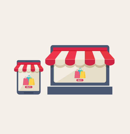 Online mobile store or shopping concept with two icons on a mobile phone and tablet of a shopping bags and buy button under striped red and white canopies, vector illustration