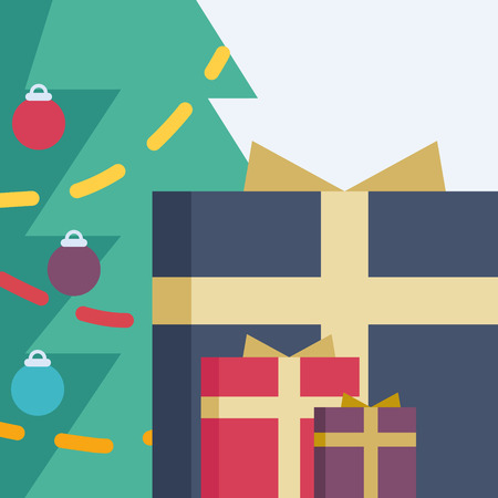 A Christmas tree with different-sized presents near it
