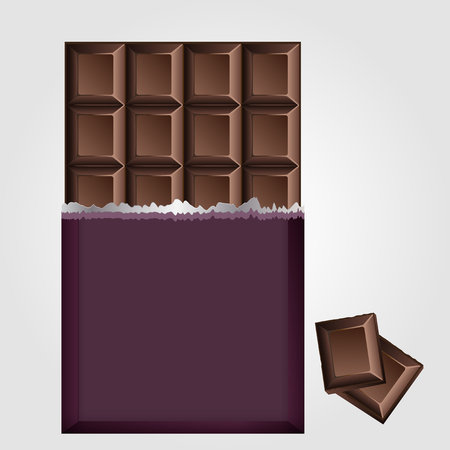 unwrapped: Chocolate bar vector showing the unwrapped broken off top half of a slab of milky chocolate with one square in the corner broken free and below a large flat rectangular chocolate on grey