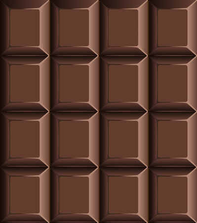 Unwrapped milky chocolate bar seamless pattern with rows of individual blocks in a catering, candy, food or nutritional background, vector illustration Ilustração