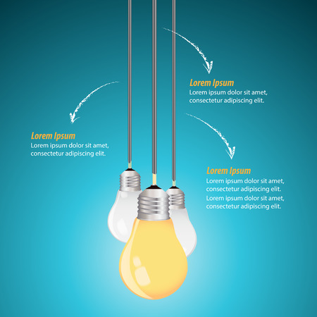 Creative Template with light bulb idea on a blue background Illustration