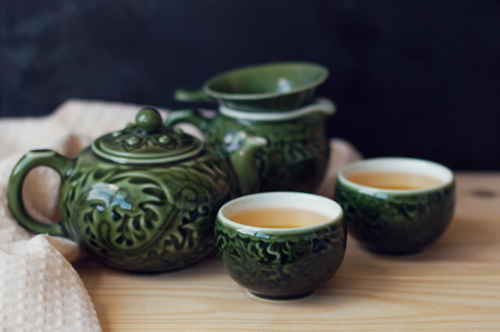 Chinese traditional tea ceremony set on a wooden table