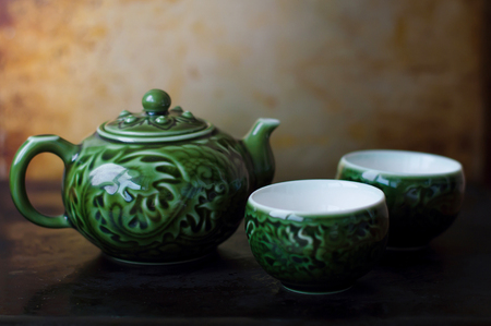 chinese tea pot: Chinese tea pot and two  bowls for traditional chinese tea ceremony