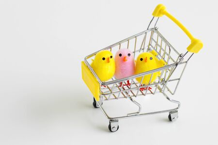Colorful baby chicken toys in a small shopping cart. Easter decoration. Diversity concept. Shopping concept
