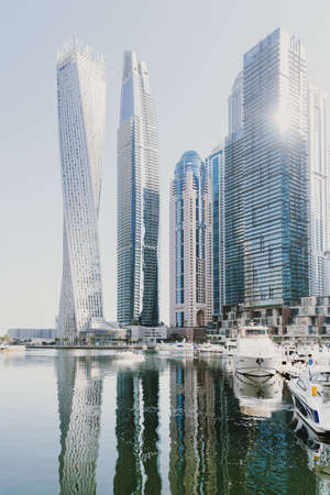 Dubai; UAE - June 6, 2020: City view over artificial water canal in Dubai Marina