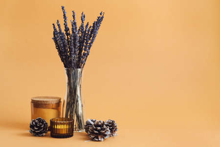 Dried lavender in a small vase, aroma candles and decorative pine cones on orange background Stok Fotoğraf