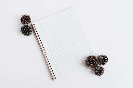 Notebook with empty lined pages and decorative pine cones on white background, top view