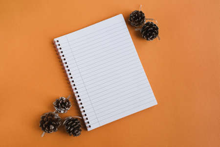 Note book with clean pages and decorative pine cones on orange background, top view