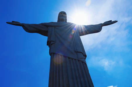 Rio de Janeiro; Brazil - February, 12, 2019: Statue of Christ the Redeemer at the top of Corcovado Mountain at the daytime 新聞圖片