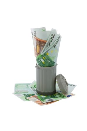 overfilled: trash can overfilled with European money representing