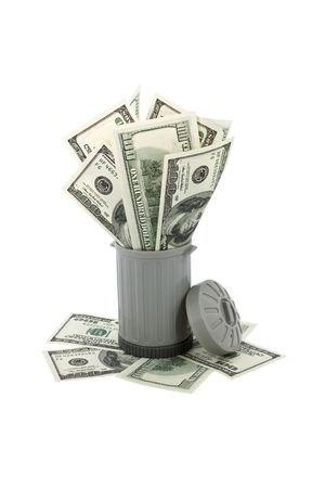 overfilled: Trash can overfilled with american money representing