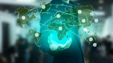 Network marketing around the world concept. White circle is space for user product. Stock Photo