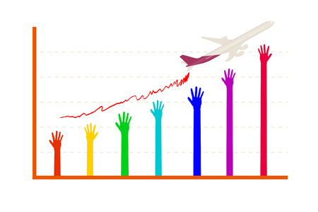ascending: colorful hand ascending graph vector version