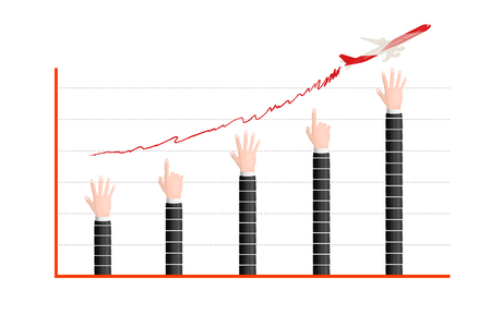 ascending: Business hand ascending graph vector version