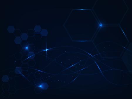 black light: Line blue lighting on dark blue background