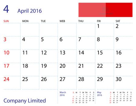 desktop calendar: Desktop calendar April 2016 template. Paper size 204 mm x 159 mm. Illustration