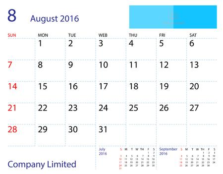 desktop calendar: Desktop calendar August 2016 template. Paper size 204 mm x 159 mm.