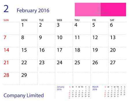 desktop calendar: Desktop calendar February 2016 template. Paper size 204 mm x 159 mm.
