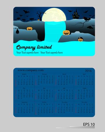 back pocket: Front and back pocket calendar 2016 vector. Halloween concept. Illustration
