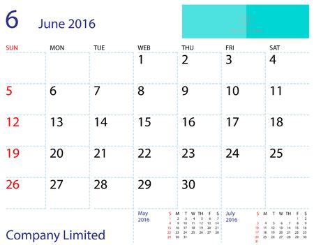 desktop calendar: Desktop calendar June 2016 template. Paper size 204 mm x 159 mm.