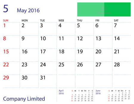 desktop calendar: Desktop calendar May 2016 template. Paper size 204 mm x 159 mm.