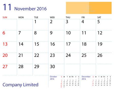 desktop calendar: Desktop calendar November 2016 template. Paper size 204 mm x 159 mm. Illustration