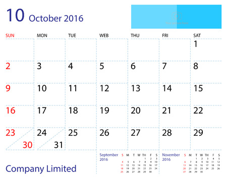 calendar october: Desktop calendar October 2016 template. Paper size 204 mm x 159 mm. Illustration